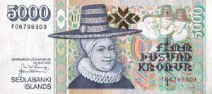 5000 Kronen-Banknote, umgerechnet etwa 35 Euro wert. Foto: Notenbank Island